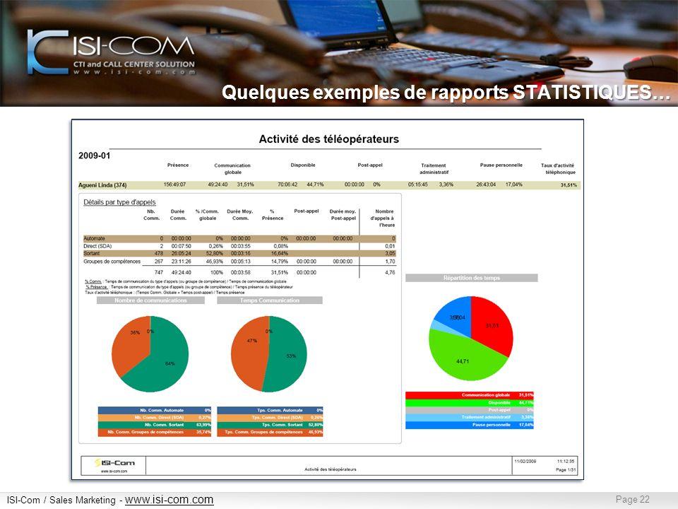 ISI-Com / Sales Marketing - www.isi-com.com www.isi-com.com Page 22 Quelques exemples de rapports STATISTIQUES…