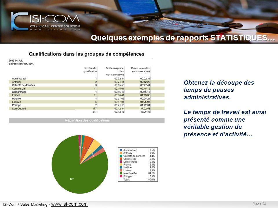 ISI-Com / Sales Marketing - www.isi-com.com www.isi-com.com Page 24 Quelques exemples de rapports STATISTIQUES… Obtenez la découpe des temps de pauses administratives.
