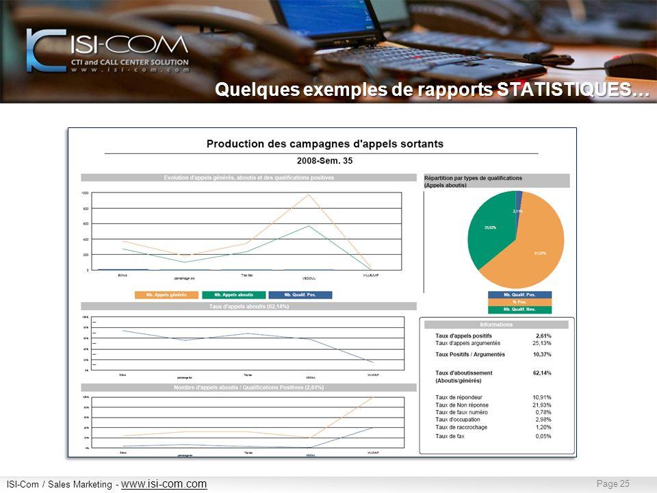 ISI-Com / Sales Marketing - www.isi-com.com www.isi-com.com Page 25 Quelques exemples de rapports STATISTIQUES…