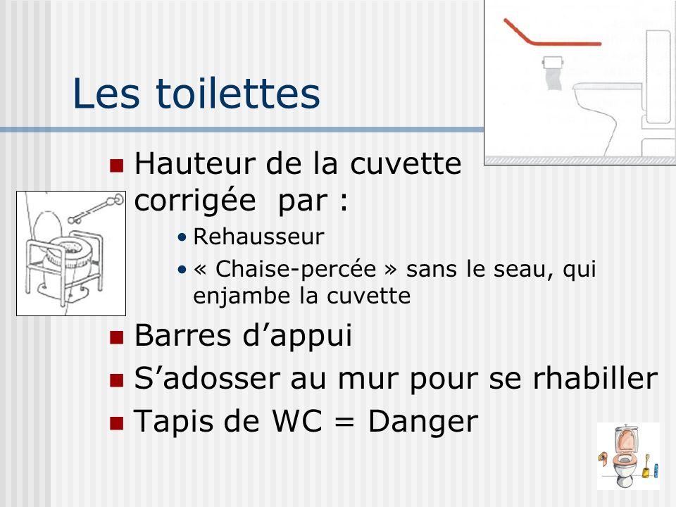 Les toilettes Hauteur de la cuvette corrigée par : Rehausseur « Chaise-percée » sans le seau, qui enjambe la cuvette Barres dappui Sadosser au mur pou