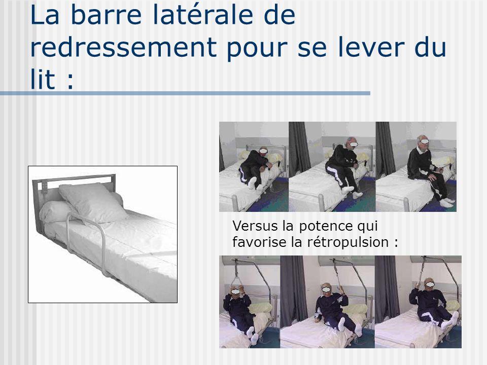 La barre latérale de redressement pour se lever du lit : Versus la potence qui favorise la rétropulsion :