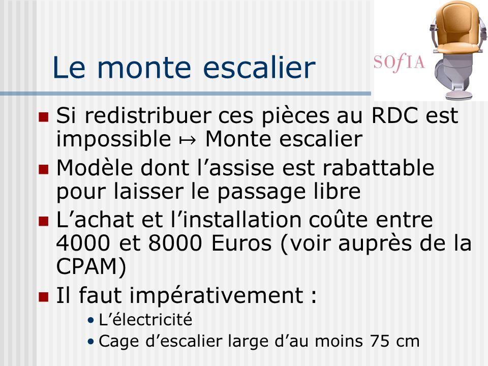 Le monte escalier Si redistribuer ces pièces au RDC est impossible Monte escalier Modèle dont lassise est rabattable pour laisser le passage libre Lac