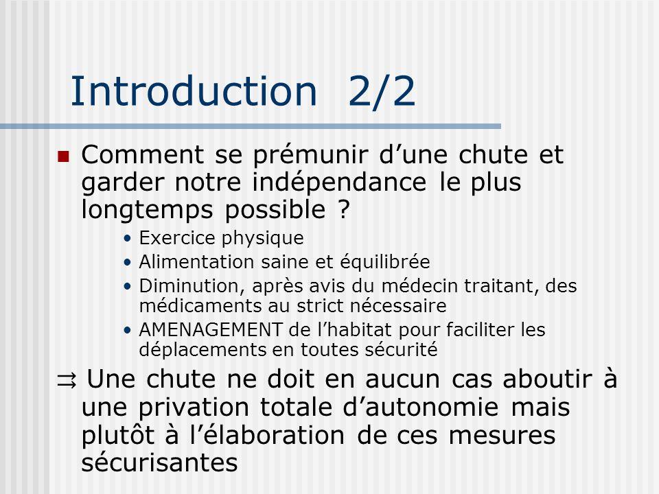 Introduction 2/2 Comment se prémunir dune chute et garder notre indépendance le plus longtemps possible ? Exercice physique Alimentation saine et équi