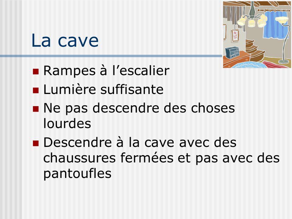 La cave Rampes à lescalier Lumière suffisante Ne pas descendre des choses lourdes Descendre à la cave avec des chaussures fermées et pas avec des pant