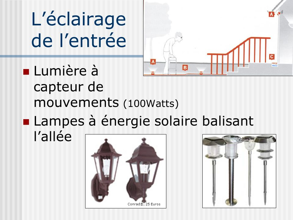Les escaliers Rampes Revêtement anti-dérapant sur les marches : Moquette Bandes noires en caoutchouc sur le rebord Lumière indirecte : Applique murale Interrupteur en haut et en bas Une aide à la marche à létage et une au RDC
