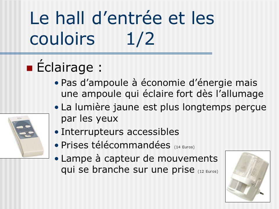 Le hall dentrée et les couloirs 1/2 Éclairage : Pas dampoule à économie dénergie mais une ampoule qui éclaire fort dès lallumage La lumière jaune est