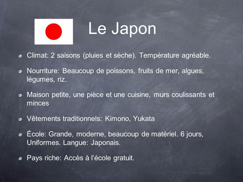 Le Japon Climat: 2 saisons (pluies et sèche). Température agréable. Nourriture: Beaucoup de poissons, fruits de mer, algues, légumes, riz. Maison peti