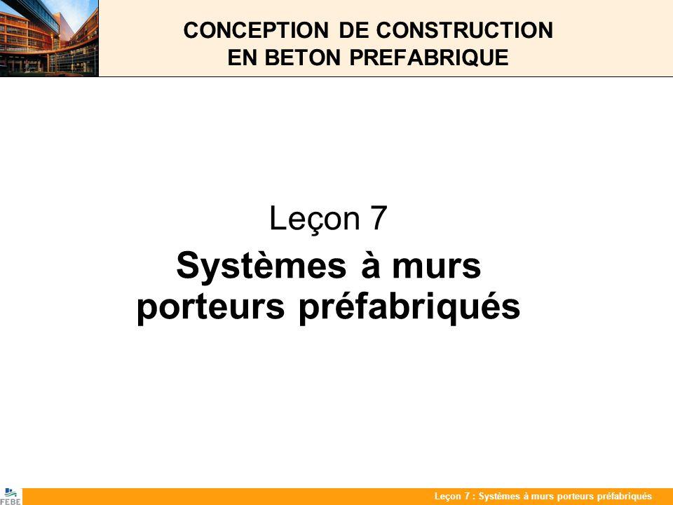 Les 7 : PrefabwandenLeçon 7 : Systèmes à murs porteurs préfabriqués CONCEPTION DE CONSTRUCTION EN BETON PREFABRIQUE Leçon 7 Systèmes à murs porteurs p