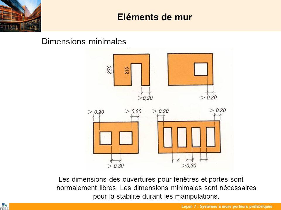 Les 7 : PrefabwandenLeçon 7 : Systèmes à murs porteurs préfabriqués Eléments de mur Dimensions minimales Les dimensions des ouvertures pour fenêtres e