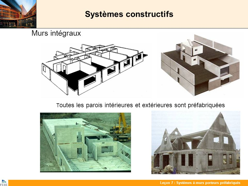 Les 7 : PrefabwandenLeçon 7 : Systèmes à murs porteurs préfabriqués Systèmes constructifs Murs intégraux T outes les parois intérieures et extérieures