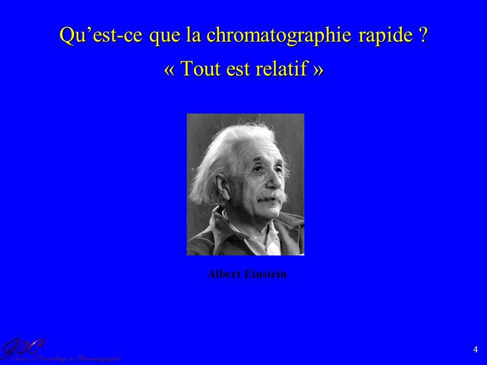 4 Quest-ce que la chromatographie rapide ? « Tout est relatif » Albert Einstein