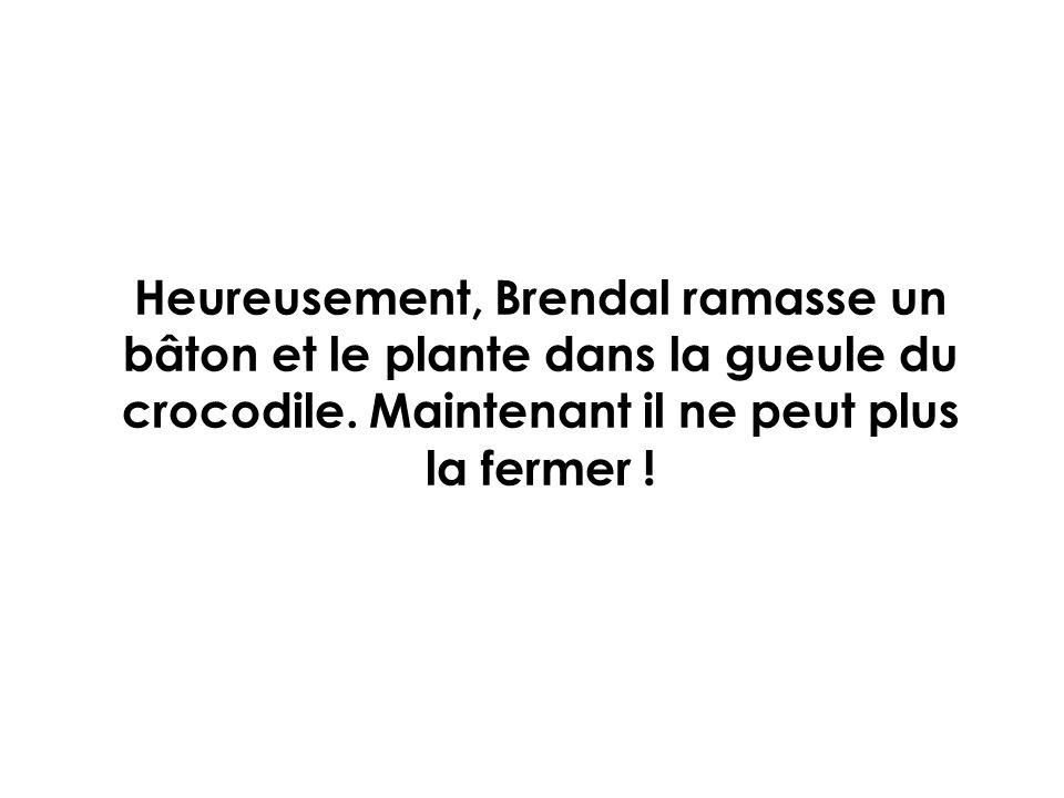 Heureusement, Brendal ramasse un bâton et le plante dans la gueule du crocodile. Maintenant il ne peut plus la fermer !