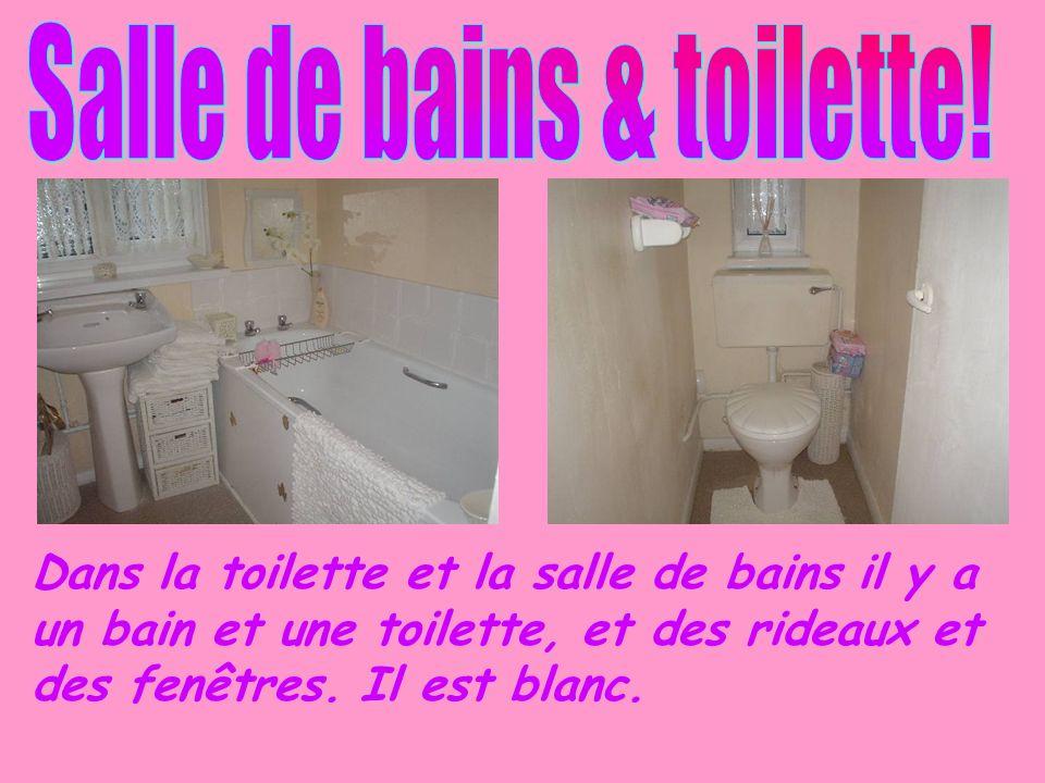 Dans la toilette et la salle de bains il y a un bain et une toilette, et des rideaux et des fenêtres. Il est blanc.