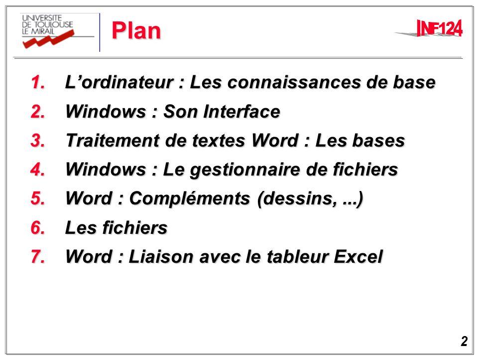2 Plan 1.Lordinateur : Les connaissances de base 1.Lordinateur : Les connaissances de base 2.Windows : Son Interface 2.Windows : Son Interface 3.Traitement de textes Word : Les bases 3.Traitement de textes Word : Les bases 4.Windows : Le gestionnaire de fichiers 4.Windows : Le gestionnaire de fichiers 5.Word : Compléments (dessins,...) 5.Word : Compléments (dessins,...) 6.Les fichiers 6.Les fichiers 7.Word : Liaison avec le tableur Excel 7.Word : Liaison avec le tableur Excel