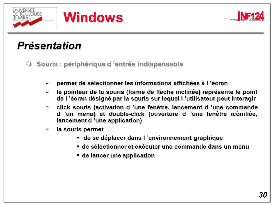 30 Windows Présentation Présentation Souris : périphérique d entrée indispensable Souris : périphérique d entrée indispensable permet de sélectionner les informations affichées à l écran permet de sélectionner les informations affichées à l écran le pointeur de la souris (forme de flèche inclinée) représente le point de l écran désigné par la souris sur lequel l utilisateur peut interagir le pointeur de la souris (forme de flèche inclinée) représente le point de l écran désigné par la souris sur lequel l utilisateur peut interagir click souris (activation d une fenêtre, lancement d une commande d un menu) et double-click (ouverture d une fenêtre icônifiée, lancement d une application) click souris (activation d une fenêtre, lancement d une commande d un menu) et double-click (ouverture d une fenêtre icônifiée, lancement d une application) la souris permet la souris permet de se déplacer dans l environnement graphique de se déplacer dans l environnement graphique de sélectionner et exécuter une commande dans un menu de sélectionner et exécuter une commande dans un menu de lancer une application de lancer une application