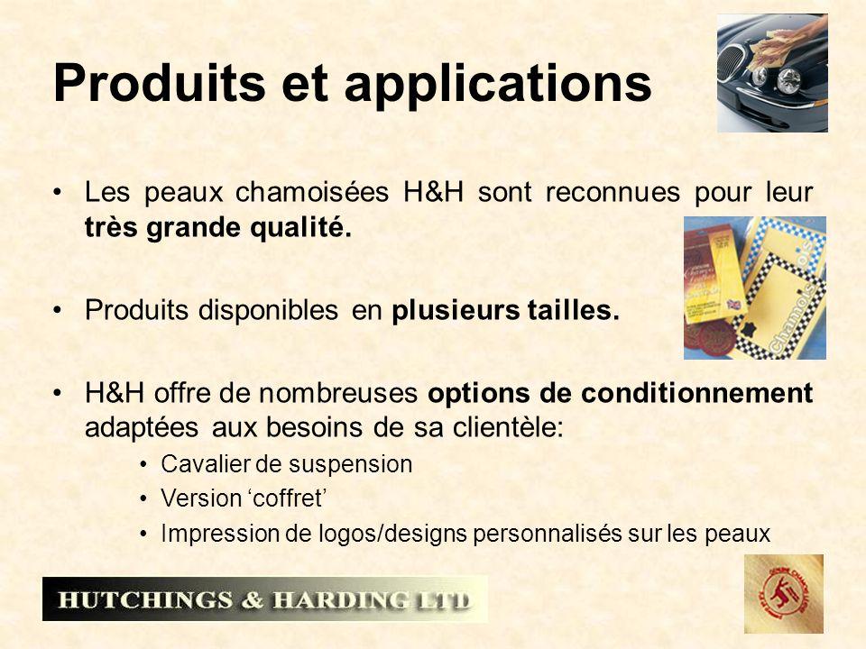 Produits et applications Les peaux chamoisées H&H sont reconnues pour leur très grande qualité. Produits disponibles en plusieurs tailles. H&H offre d