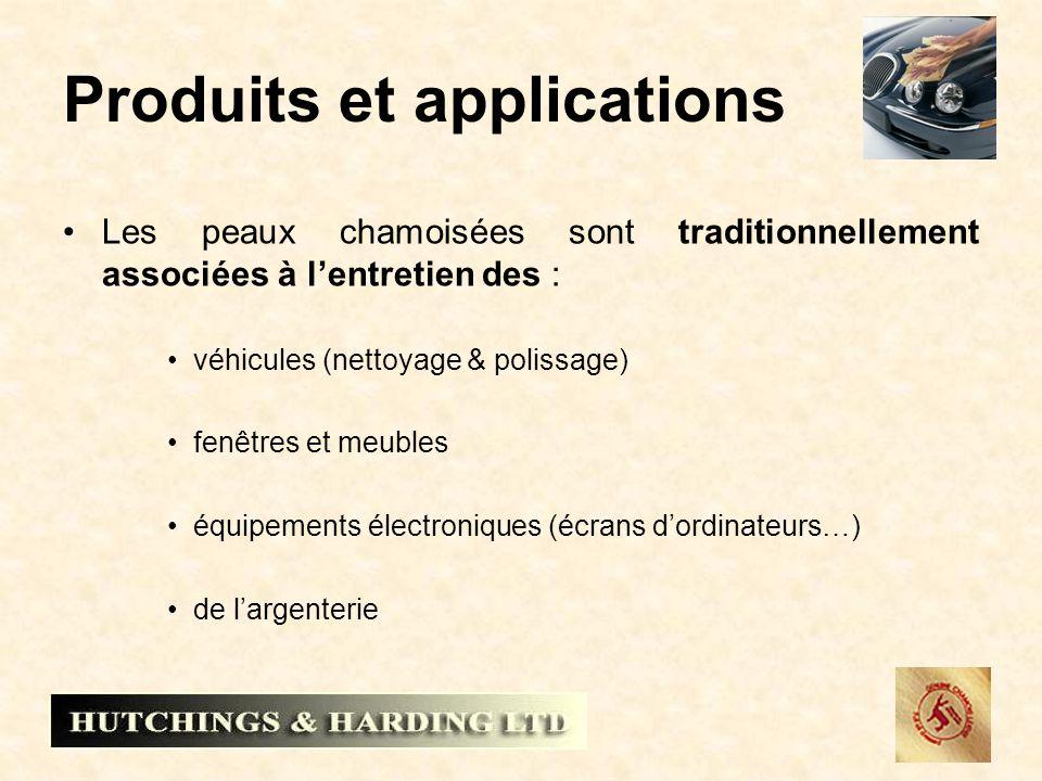 Produits et applications Les peaux chamoisées sont traditionnellement associées à lentretien des : véhicules (nettoyage & polissage) fenêtres et meubl