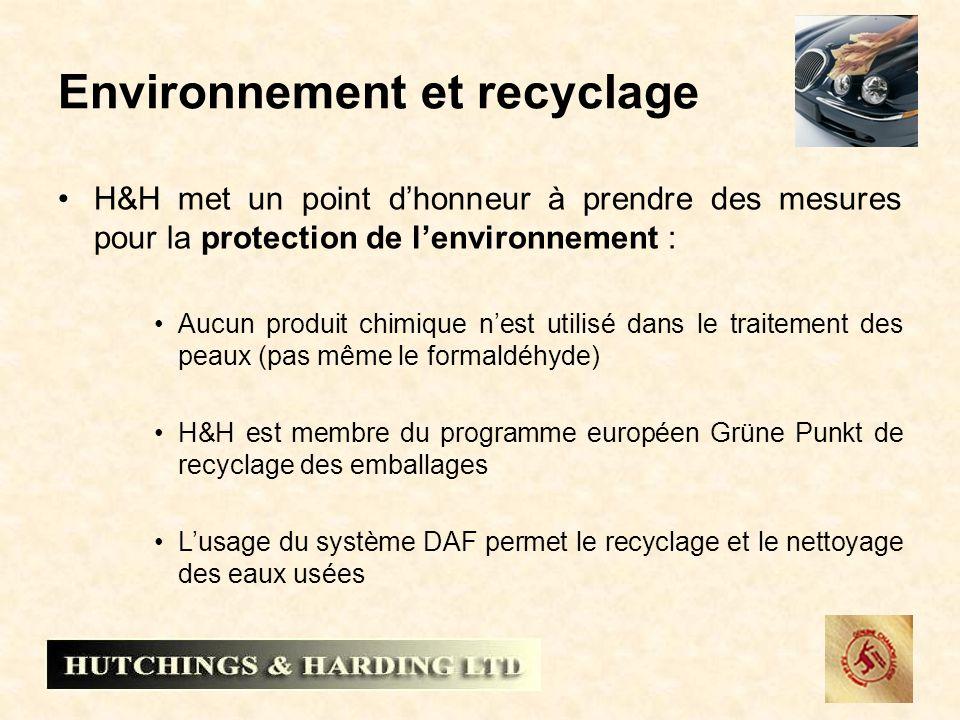 Environnement et recyclage H&H met un point dhonneur à prendre des mesures pour la protection de lenvironnement : Aucun produit chimique nest utilisé dans le traitement des peaux (pas même le formaldéhyde) H&H est membre du programme européen Grüne Punkt de recyclage des emballages Lusage du système DAF permet le recyclage et le nettoyage des eaux usées
