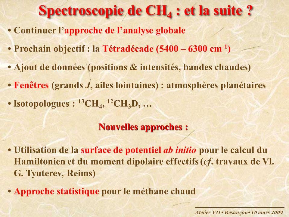 Atelier VO Besançon 10 mars 2009 Spectroscopie de CH 4 : et la suite ? Continuer lapproche de lanalyse globale Prochain objectif : la Tétradécade (540