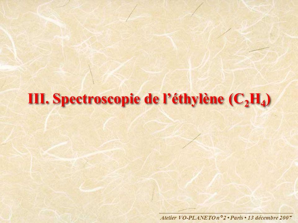 Atelier VO-PLANETO n°2 Paris 13 décembre 2007 III. Spectroscopie de léthylène (C 2 H 4 )