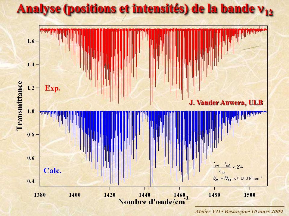 Atelier VO Besançon 10 mars 2009 J. Vander Auwera, ULB Analyse (positions et intensités) de la bande 12