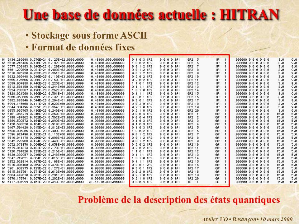 Atelier VO Besançon 10 mars 2009 Une base de données actuelle : HITRAN Stockage sous forme ASCII Format de données fixes Problème de la description de
