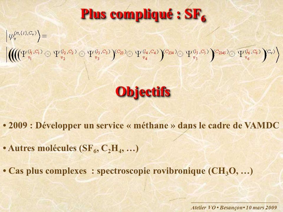 Atelier VO Besançon 10 mars 2009 Plus compliqué : SF 6 ObjectifsObjectifs 2009 : Développer un service « méthane » dans le cadre de VAMDC Autres moléc