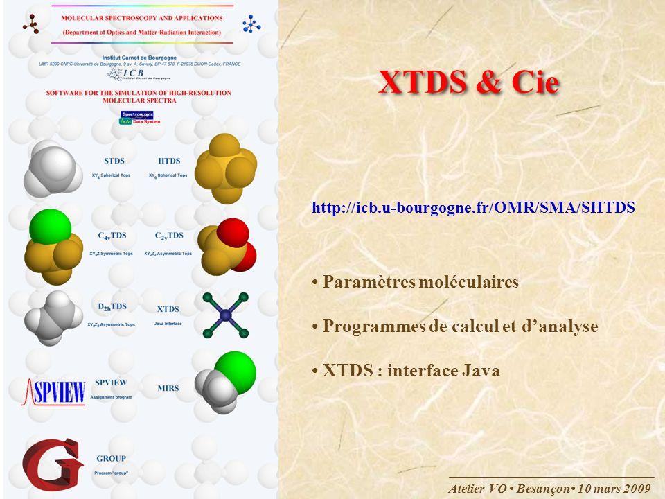 Atelier VO Besançon 10 mars 2009 Molécules incluses STDS:CH 4, SiH 4, GeH 4, CF 4, … HTDS:SF 6, SeF 6, WF 6, UF 6, … D 2h TDS:C 2 H 4 C 2v TDS:SO 2 F 2 C 4v TDS:SF 5 Cl XTDS + MIRS (CH 3 D, CH 3 Cl, PH 3, …)