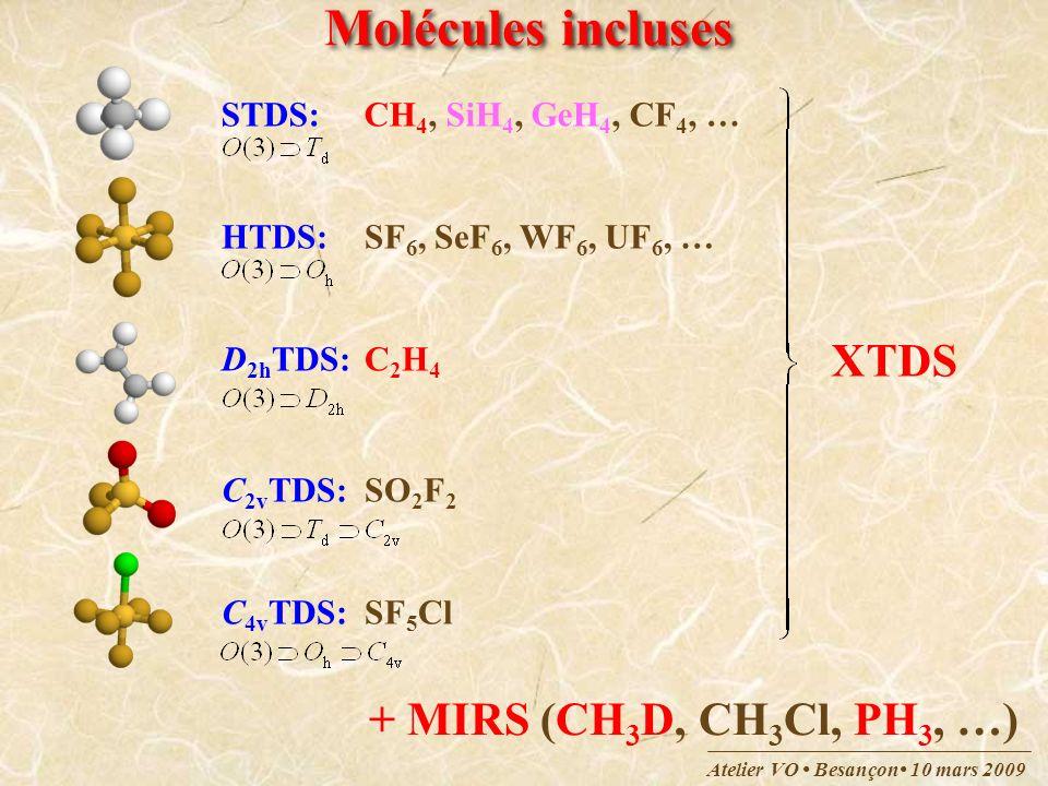 Atelier VO Besançon 10 mars 2009 Molécules incluses STDS:CH 4, SiH 4, GeH 4, CF 4, … HTDS:SF 6, SeF 6, WF 6, UF 6, … D 2h TDS:C 2 H 4 C 2v TDS:SO 2 F
