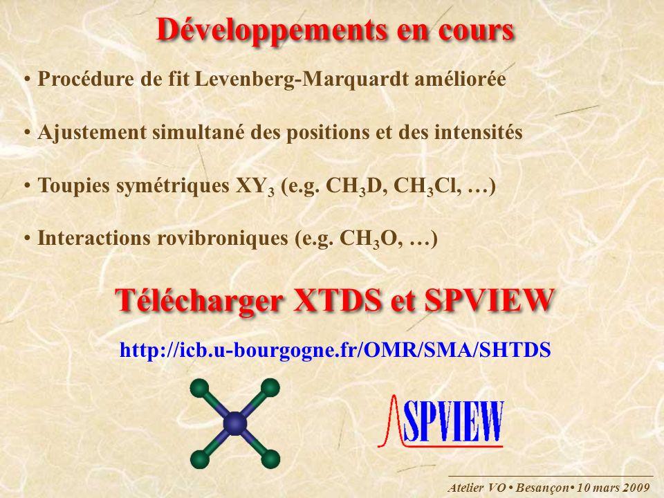 Atelier VO Besançon 10 mars 2009 Exemple : CH 4 Une transition est décrite par : Position, intensité, paramètres délargissement, … Niveau supérieur – Niveau inférieur Un niveau est décrit par une série de nombres quantiques :