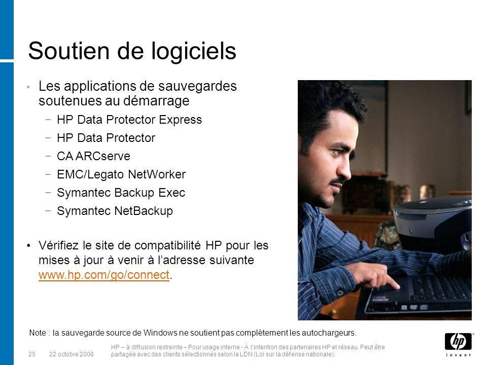2522 octobre 2008 HP – à diffusion restreinte – Pour usage interne - À lintention des partenaires HP et réseau.