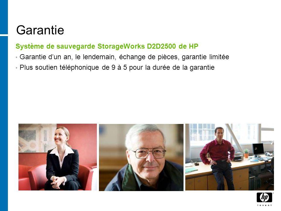 Garantie Système de sauvegarde StorageWorks D2D2500 de HP Garantie dun an, le lendemain, échange de pièces, garantie limitée Plus soutien téléphonique de 9 à 5 pour la durée de la garantie