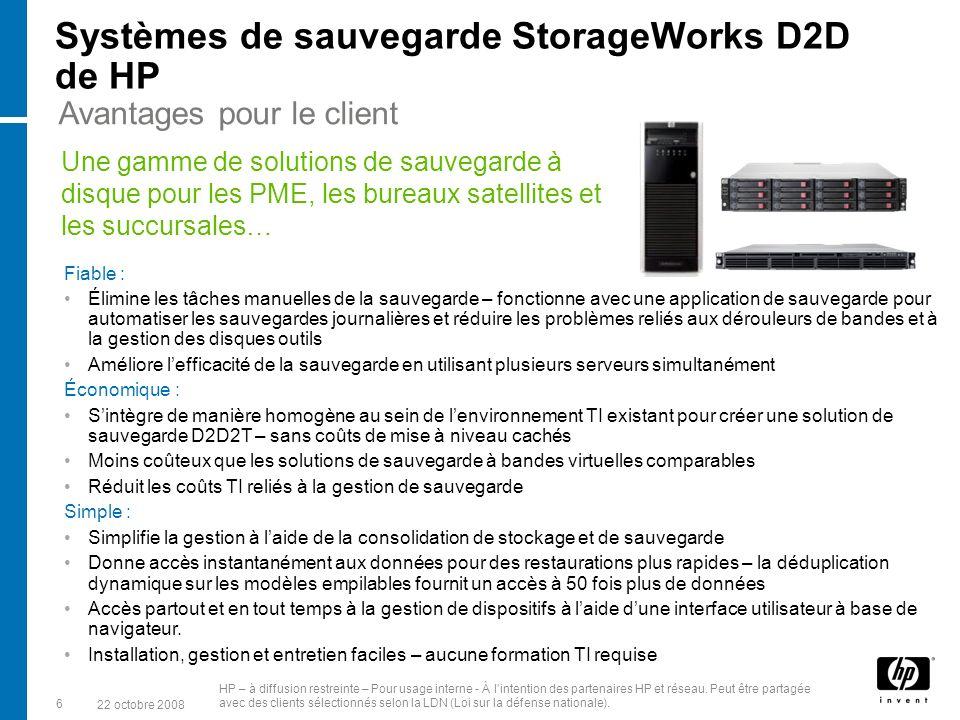 Systèmes de sauvegarde StorageWorks D2D de HP Fiable : Élimine les tâches manuelles de la sauvegarde – fonctionne avec une application de sauvegarde pour automatiser les sauvegardes journalières et réduire les problèmes reliés aux dérouleurs de bandes et à la gestion des disques outils Améliore lefficacité de la sauvegarde en utilisant plusieurs serveurs simultanément Économique : Sintègre de manière homogène au sein de lenvironnement TI existant pour créer une solution de sauvegarde D2D2T – sans coûts de mise à niveau cachés Moins coûteux que les solutions de sauvegarde à bandes virtuelles comparables Réduit les coûts TI reliés à la gestion de sauvegarde Simple : Simplifie la gestion à laide de la consolidation de stockage et de sauvegarde Donne accès instantanément aux données pour des restaurations plus rapides – la déduplication dynamique sur les modèles empilables fournit un accès à 50 fois plus de données Accès partout et en tout temps à la gestion de dispositifs à laide dune interface utilisateur à base de navigateur.