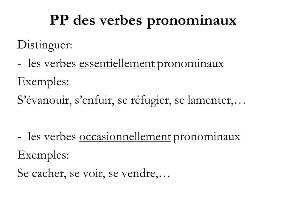 PP des verbes pronominaux Distinguer: -les verbes essentiellement pronominaux Exemples: Sévanouir, senfuir, se réfugier, se lamenter,… -les verbes occ