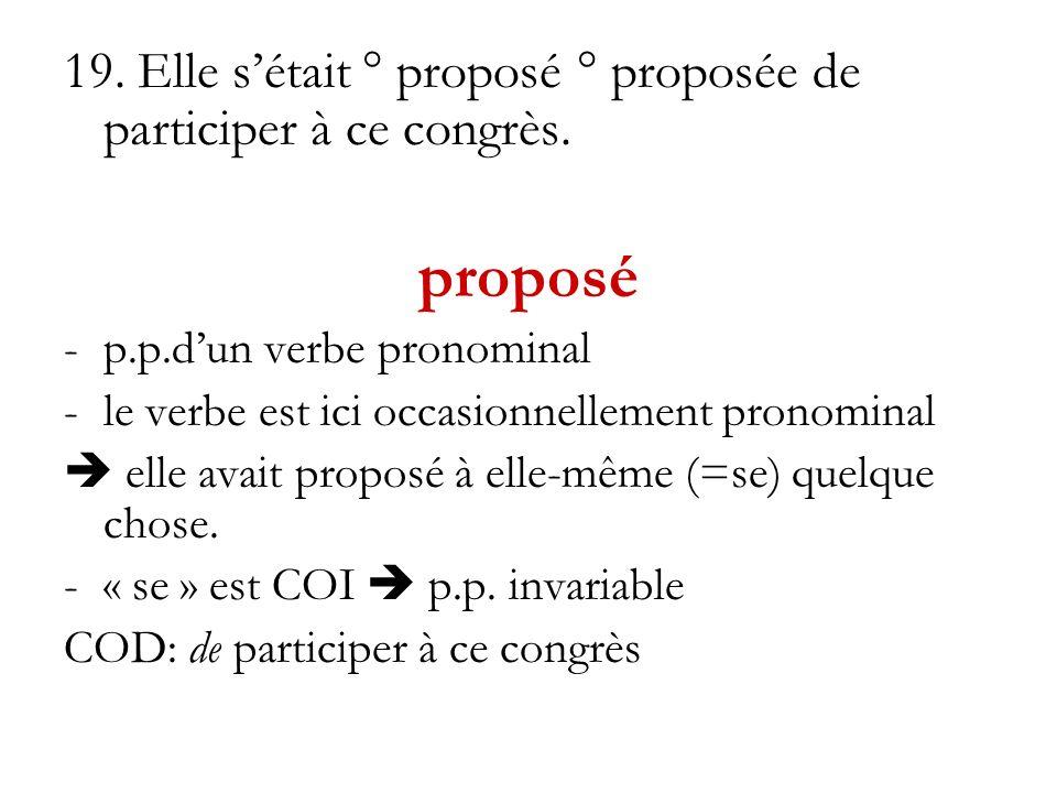 19. Elle sétait ° proposé ° proposée de participer à ce congrès. proposé -p.p.dun verbe pronominal -le verbe est ici occasionnellement pronominal elle