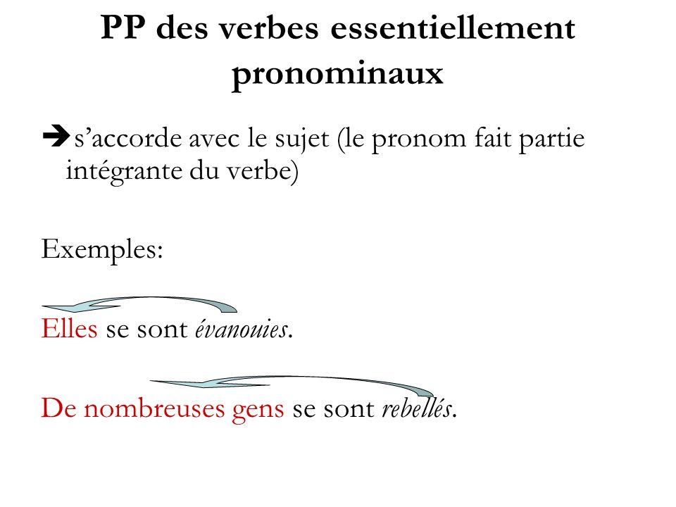 PP des verbes essentiellement pronominaux saccorde avec le sujet (le pronom fait partie intégrante du verbe) Exemples: Elles se sont évanouies. De nom