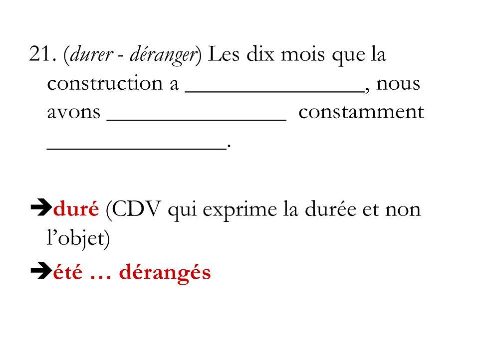 21. (durer - déranger) Les dix mois que la construction a _______________, nous avons _______________ constamment _______________. duré (CDV qui expri