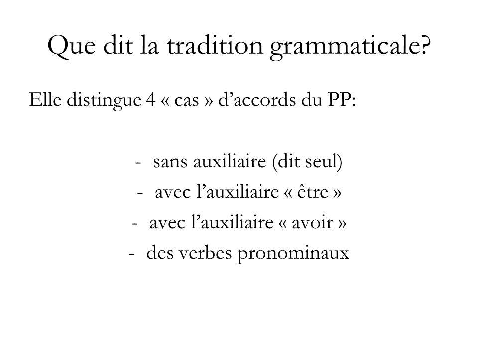 Que dit la tradition grammaticale? Elle distingue 4 « cas » daccords du PP: -sans auxiliaire (dit seul) -avec lauxiliaire « être » -avec lauxiliaire «