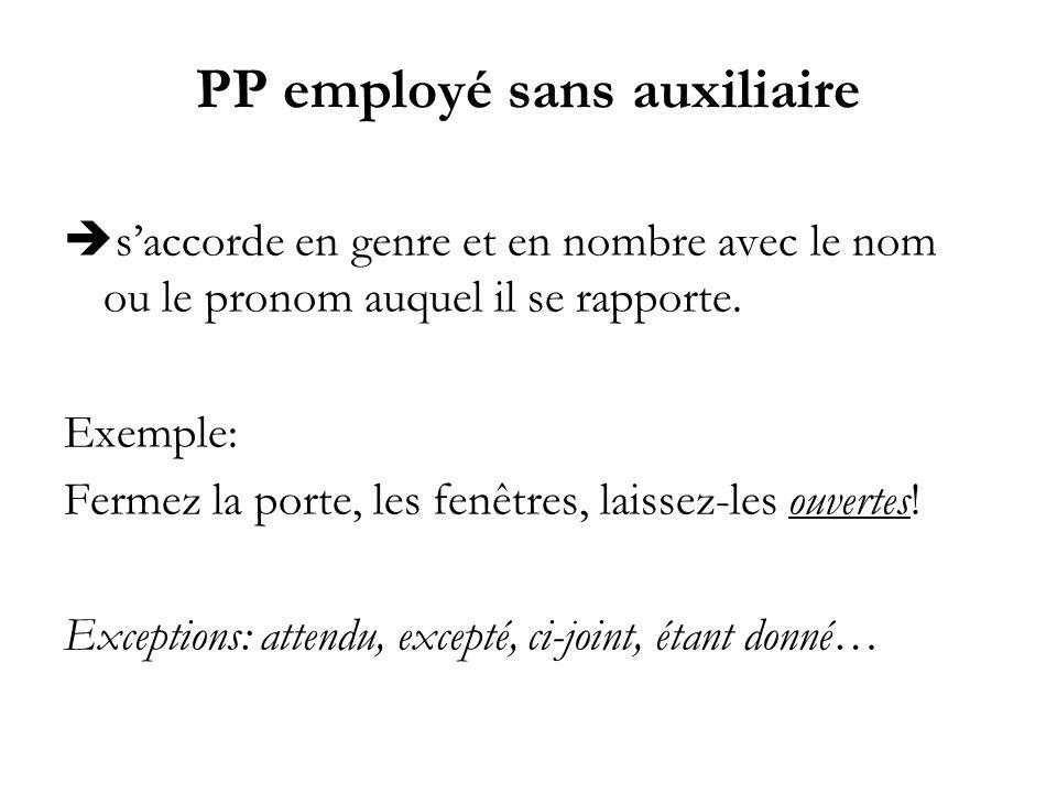 PP employé sans auxiliaire saccorde en genre et en nombre avec le nom ou le pronom auquel il se rapporte. Exemple: Fermez la porte, les fenêtres, lais