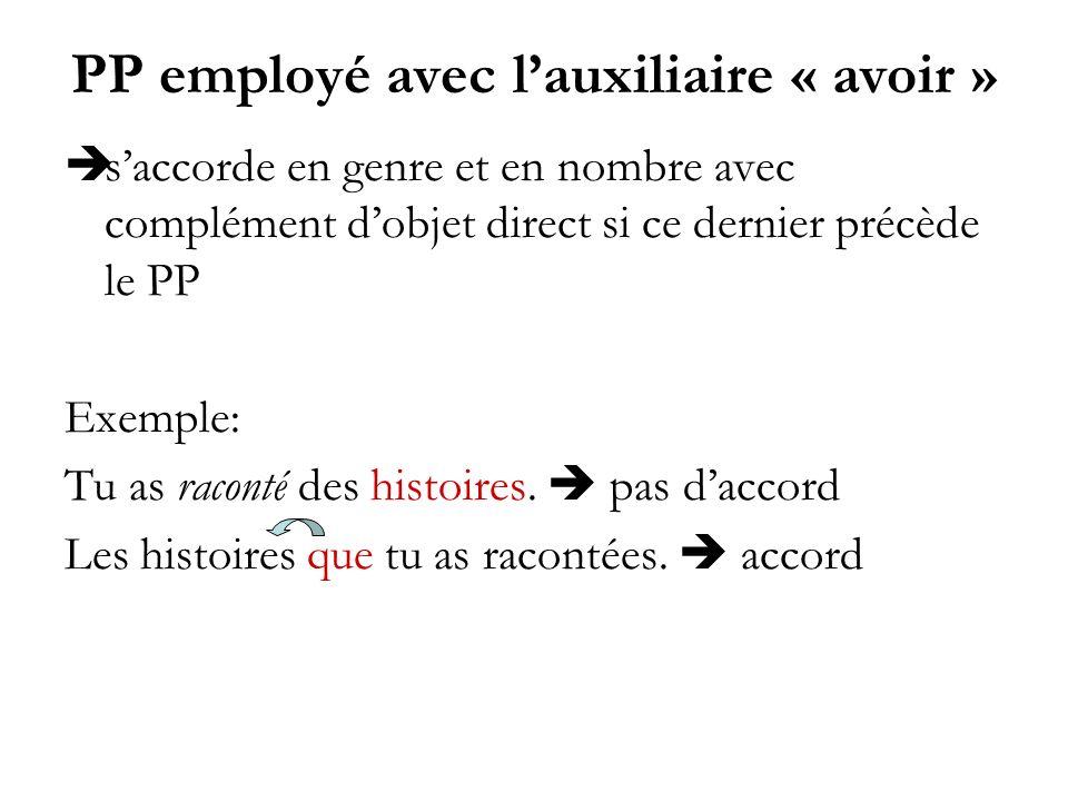 PP employé avec lauxiliaire « avoir » saccorde en genre et en nombre avec complément dobjet direct si ce dernier précède le PP Exemple: Tu as raconté