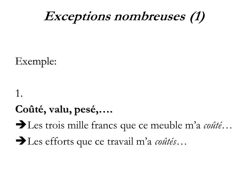 Exceptions nombreuses (1) Exemple:1. Coûté, valu, pesé,…. Les trois mille francs que ce meuble ma coûté… Les efforts que ce travail ma coûtés…