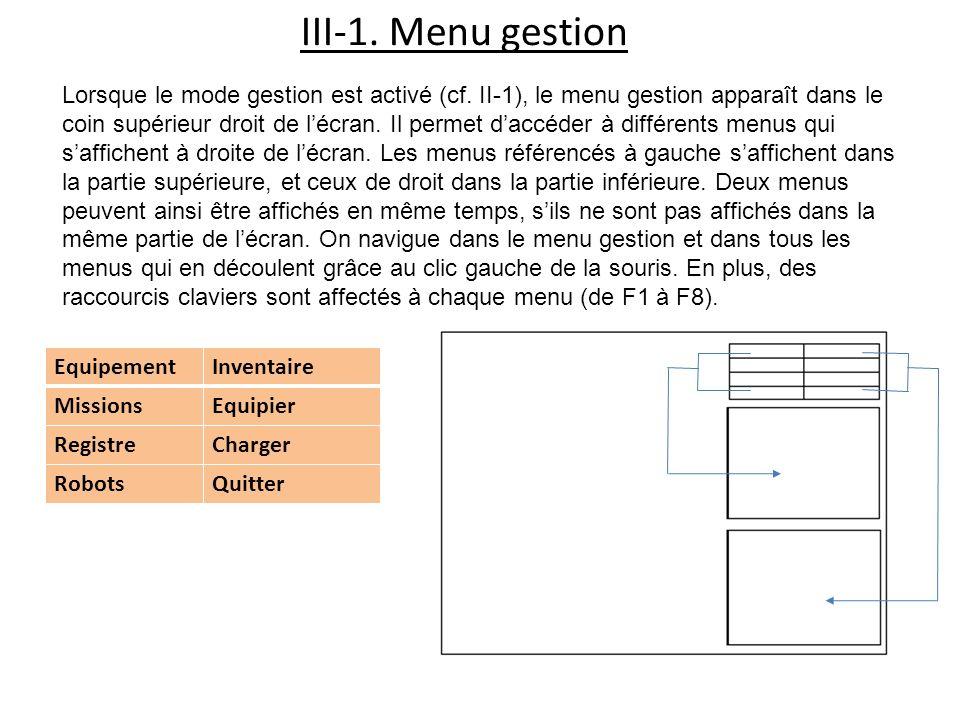 III-1. Menu gestion Lorsque le mode gestion est activé (cf. II-1), le menu gestion apparaît dans le coin supérieur droit de lécran. Il permet daccéder