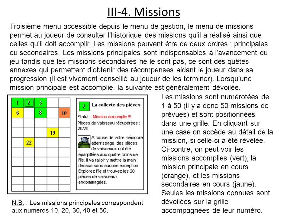 III-4. Missions Troisième menu accessible depuis le menu de gestion, le menu de missions permet au joueur de consulter lhistorique des missions quil a