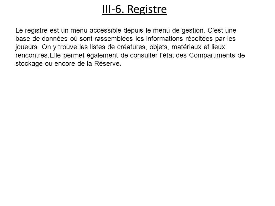 III-6. Registre Le registre est un menu accessible depuis le menu de gestion.