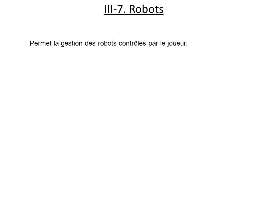 III-7. Robots Permet la gestion des robots contrôlés par le joueur.