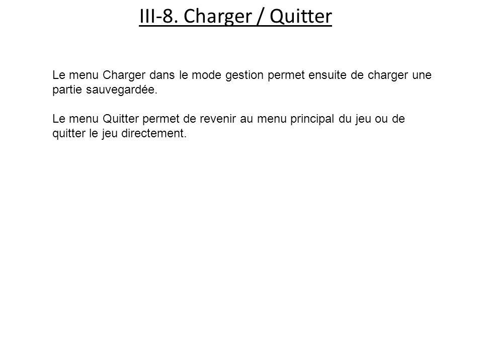 III-8. Charger / Quitter Le menu Charger dans le mode gestion permet ensuite de charger une partie sauvegardée. Le menu Quitter permet de revenir au m
