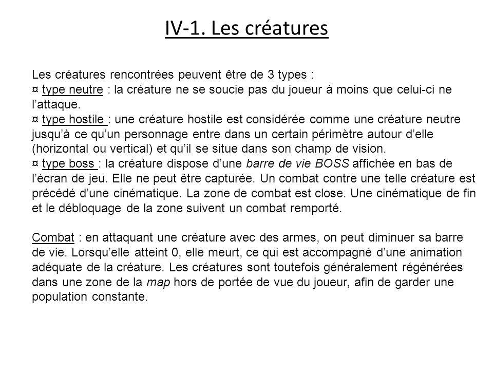 IV-1. Les créatures Les créatures rencontrées peuvent être de 3 types : ¤ type neutre : la créature ne se soucie pas du joueur à moins que celui-ci ne