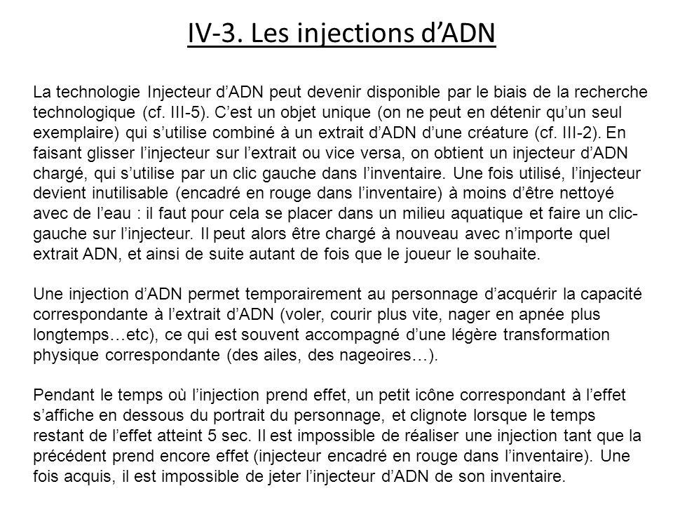 IV-3. Les injections dADN La technologie Injecteur dADN peut devenir disponible par le biais de la recherche technologique (cf. III-5). Cest un objet