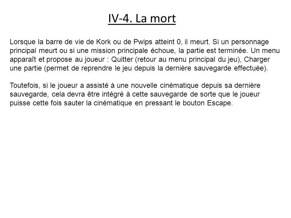 IV-4. La mort Lorsque la barre de vie de Kork ou de Pwips atteint 0, il meurt. Si un personnage principal meurt ou si une mission principale échoue, l