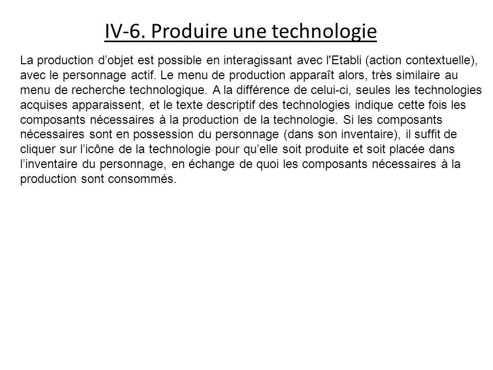 IV-6. Produire une technologie La production dobjet est possible en interagissant avec l'Etabli (action contextuelle), avec le personnage actif. Le me